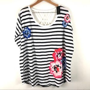 Lane Bryant Striped Floral Nautical Lattice Top 3X